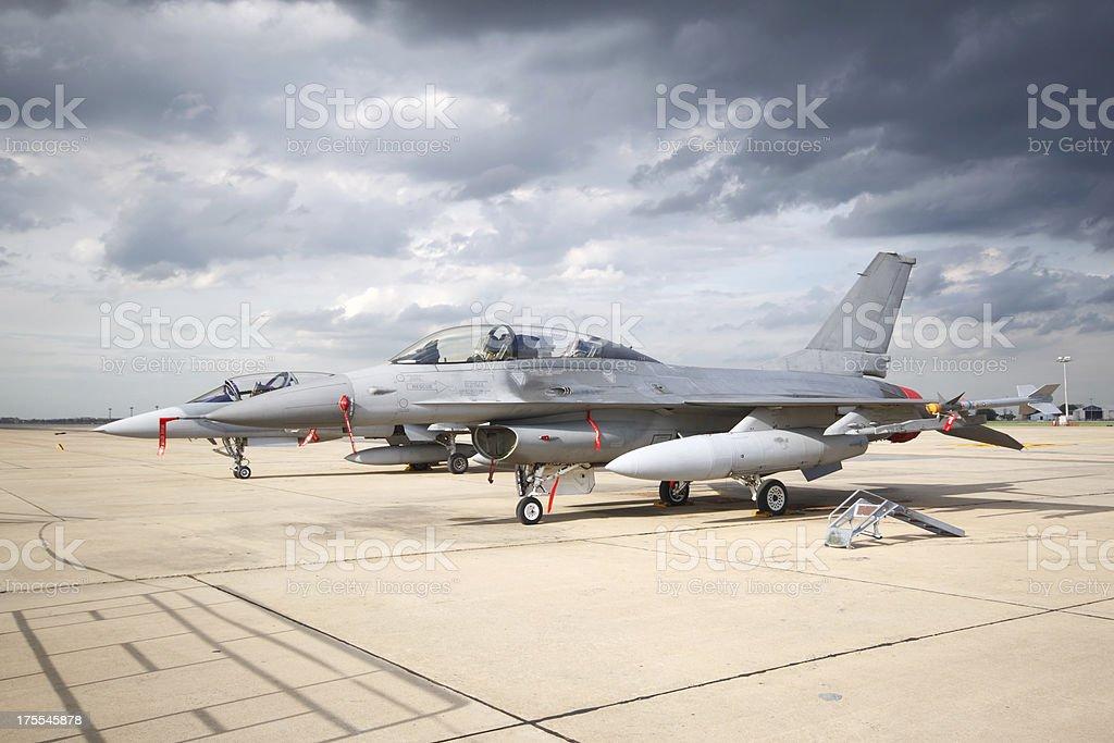 Fighter under strom stock photo