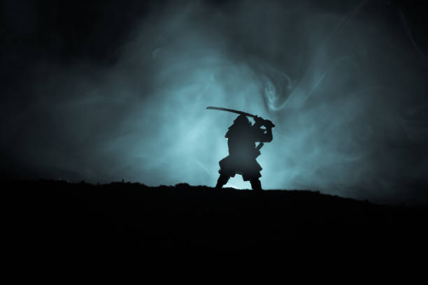 Fighter with a sword silhouette a sky ninja. Samurai on top of mountain with dark toned foggy background. – zdjęcie