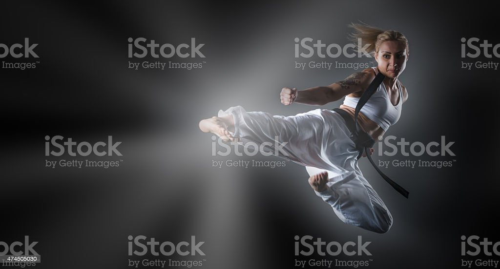 Fighters in fly stock photo