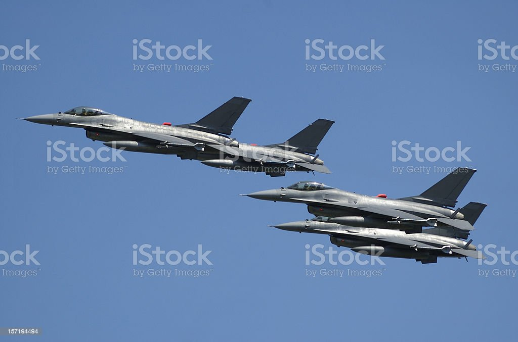 Fighters in formation - 2 royalty-free stock photo