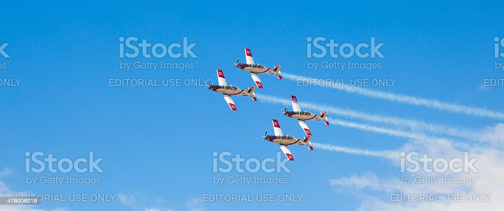 Fighters in sky during air show on Israel Independance Day stock photo