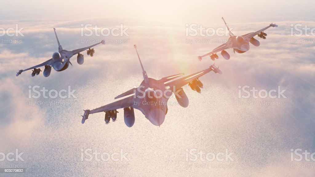 Fighters in the sky stock photo
