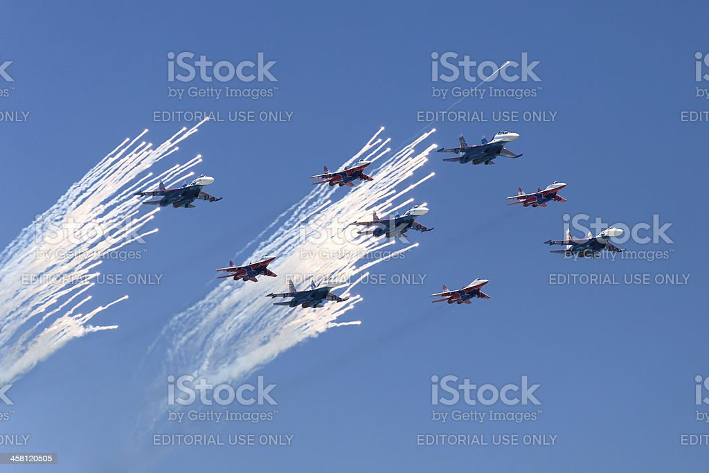 Fighters saluting in the skies royalty-free stock photo