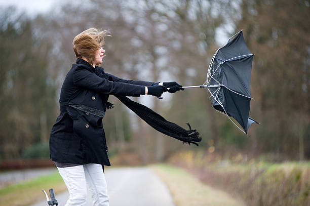 fighting against the wind - blowing stock photos and pictures