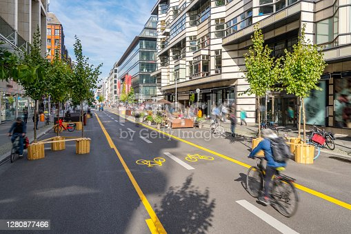 istock Fighting Climate Change with a City Pop-Up Bike Lane for a Carbon Neutral Future 1280877466