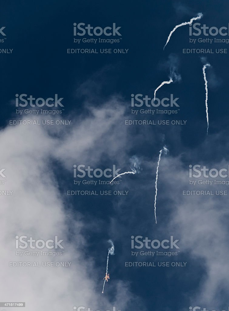 RNLAF  F-16 Fighting Falcon and Flares royalty-free stock photo