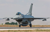 F-16 Fighting Falcon fighter plane on runway