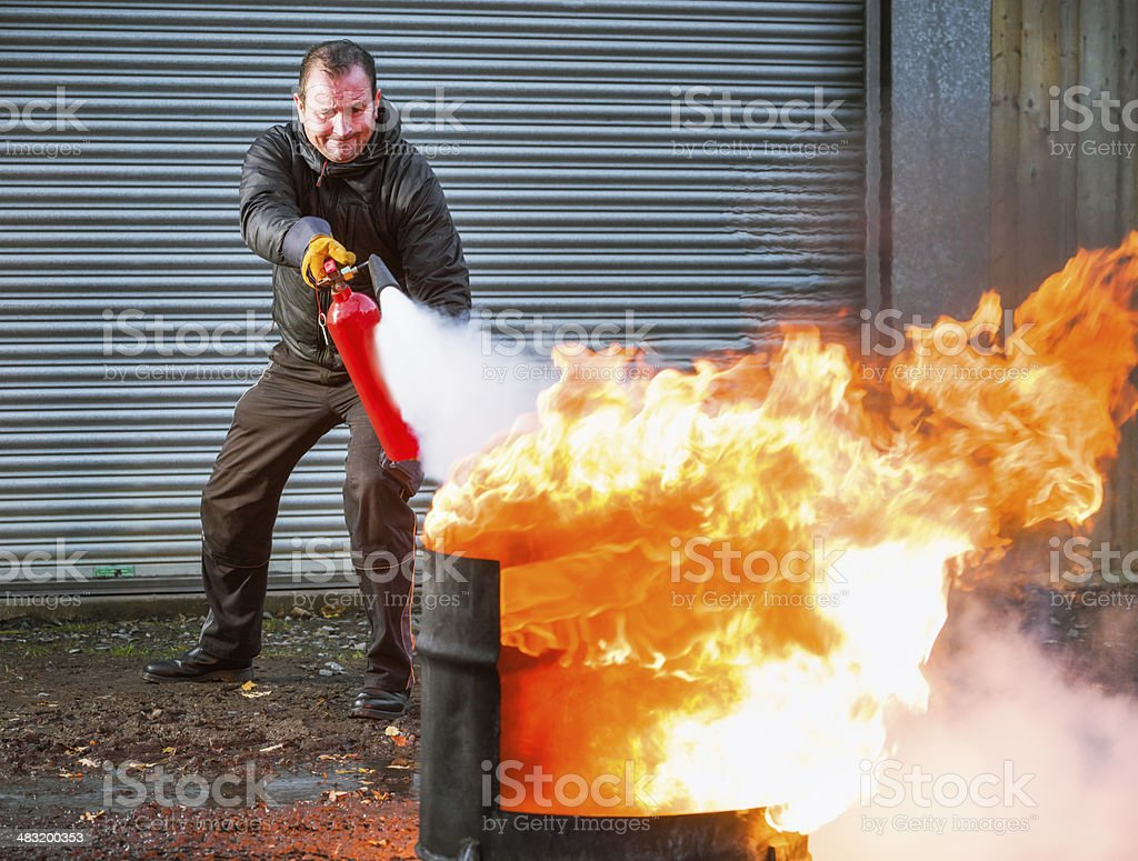 Fighting Fire stock photo