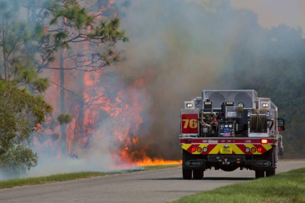 Fighting Fire stock photo