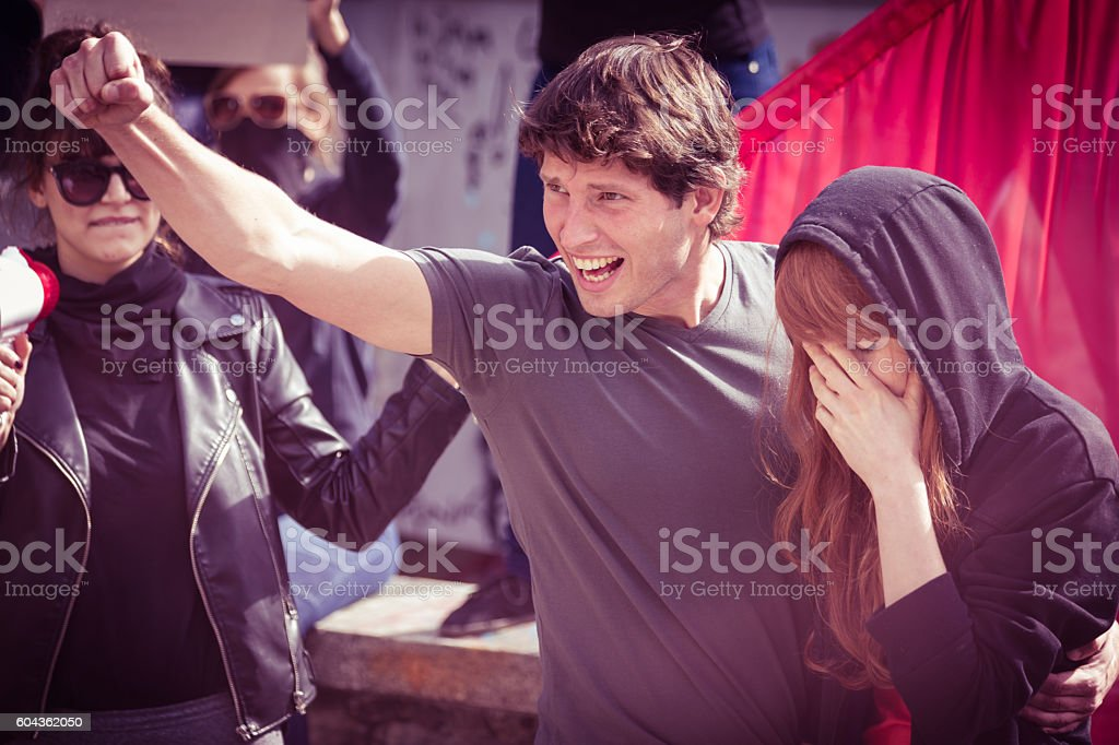 Fighting for their endangered rights stock photo