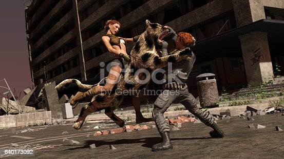Gritty clothed woman fighting with a large cat and combat clothed male for their rights in the 21st century
