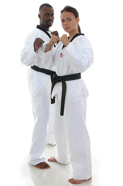 fighting pair - martial arts gerville stock photos and pictures