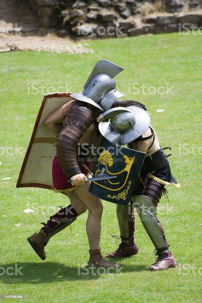 Fighting Roman Gladiators royalty-free stock photo