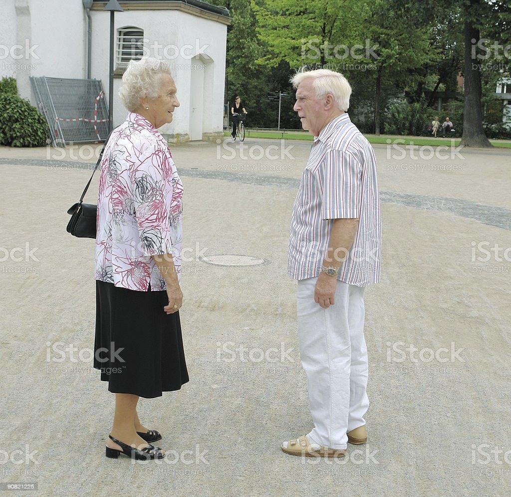 Fighting senior couple royalty-free stock photo