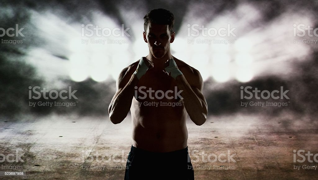 Fighting stance of fighter stock photo