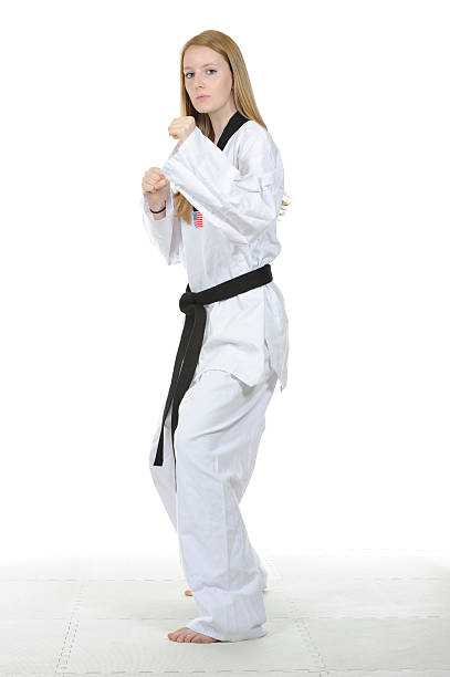tkd fighting stance - martial arts gerville stock pictures, royalty-free photos & images