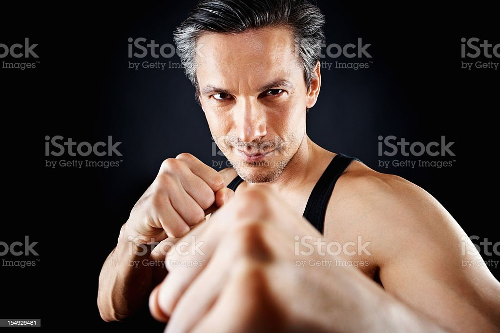 Fighting without gloves stock photo