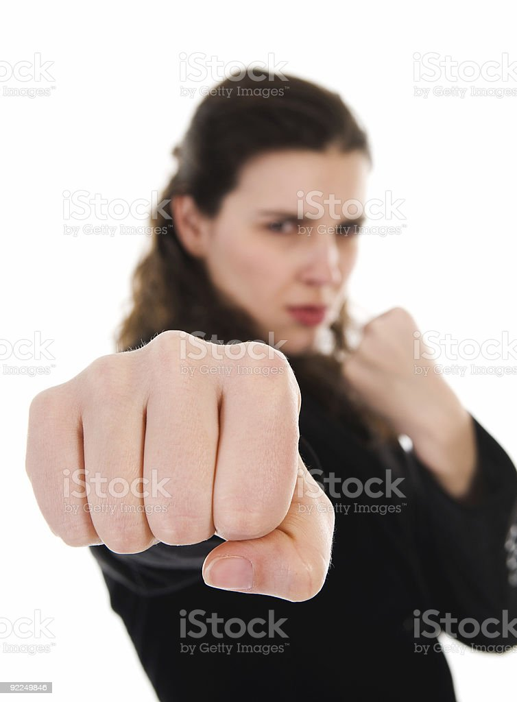 Fighting Woman royalty-free stock photo