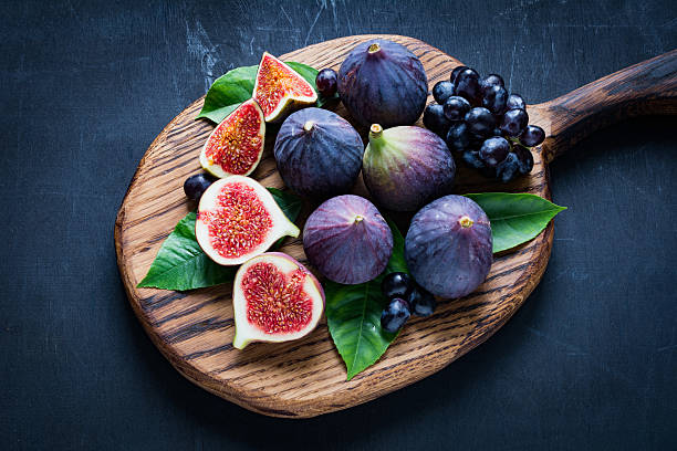 Figs and grapes stock photo