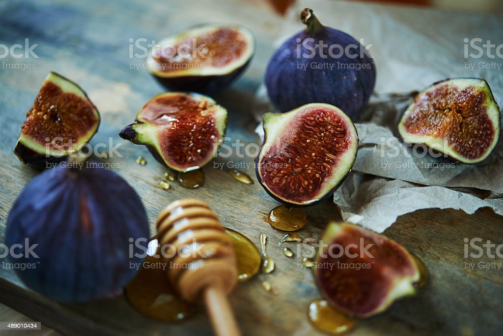 figs and honey stock photo