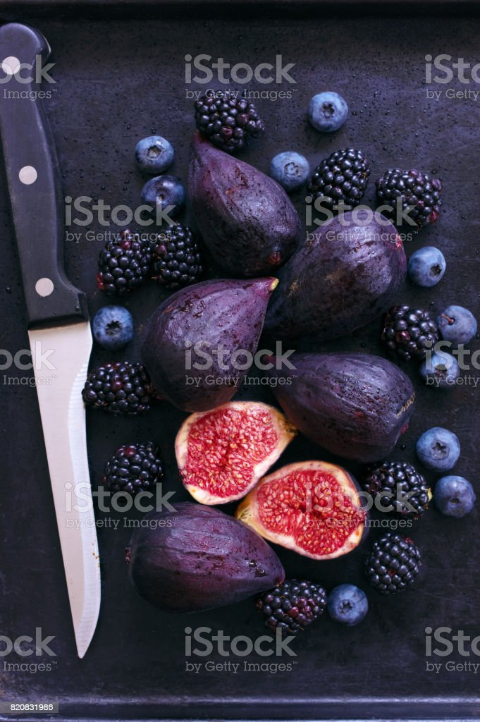 Figs, blackberries and blueberries stock photo