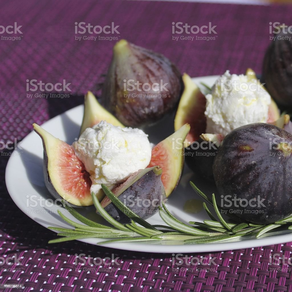 figs, figue, fromage, cheese, miel royalty-free stock photo
