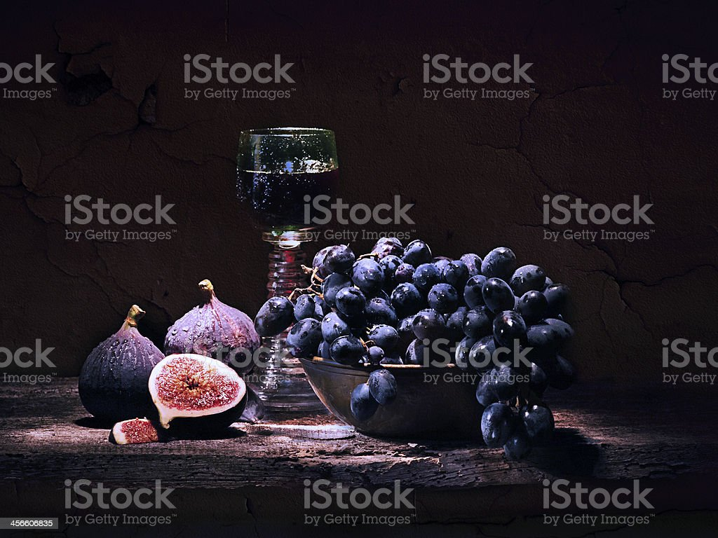 FIgs, Grapes and Wine stock photo