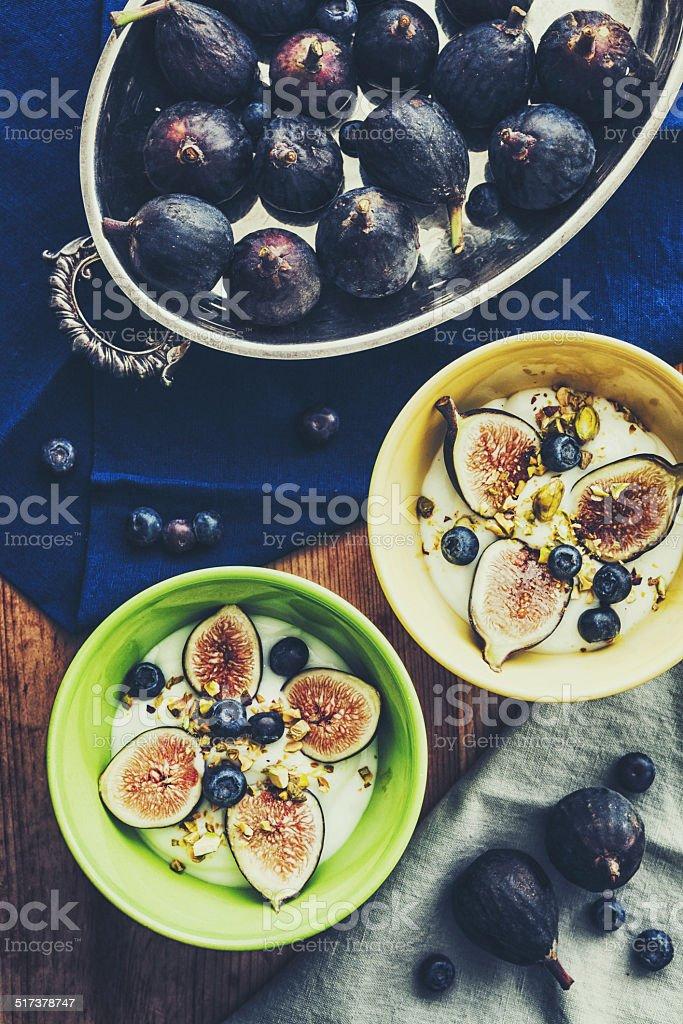Figs greek yogurt stock photo