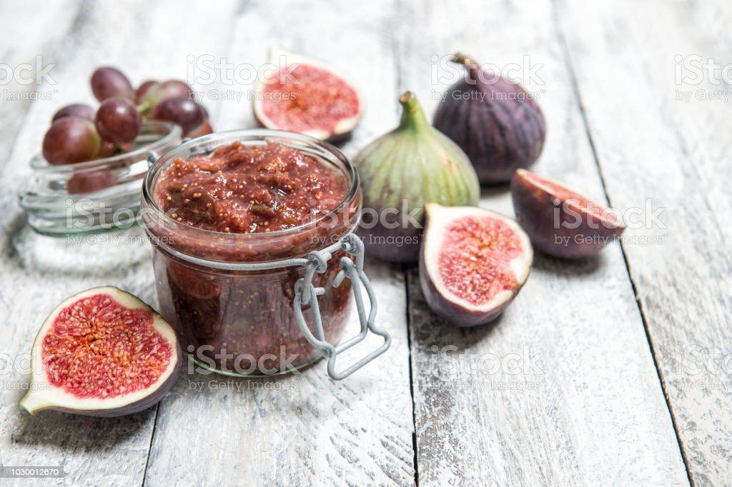 Figs jam in jar Fruit marmalade stock photo