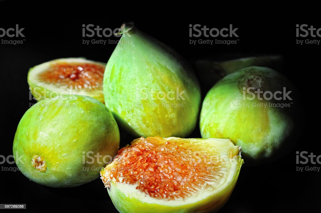 Figs on a black background royalty-free stock photo