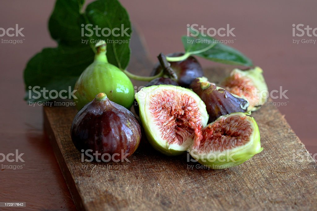 Figs still life picture in halves stock photo