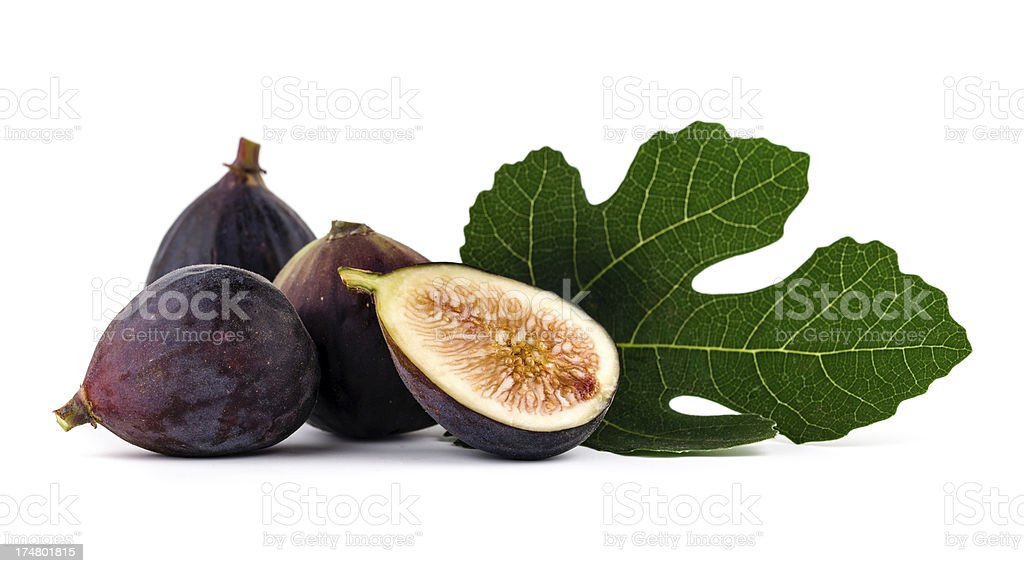 Figs with leaves stock photo