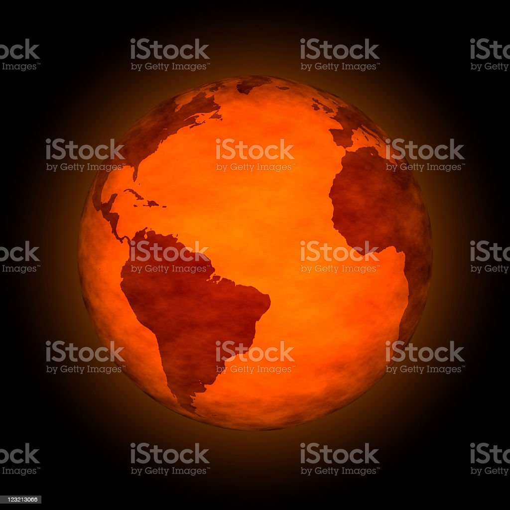 Figurative image of global warming with red globe stock photo