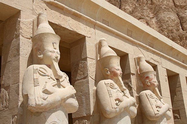 Figure carvings on Temple of Hatshepsut in Deir-al-Bahri stock photo
