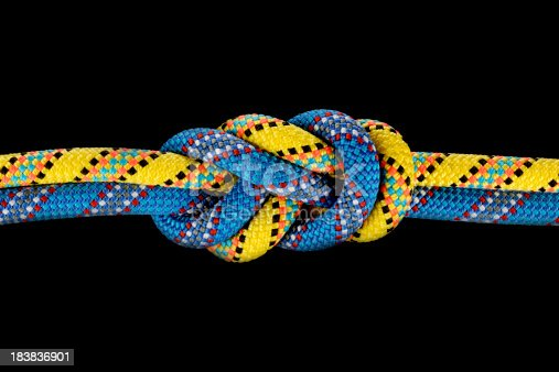 Safety knot connecting two climbing ropes. Isolated on black. THIS PHOTO IS ONLY AVAILABLE ON ISTOCKPHOTO.