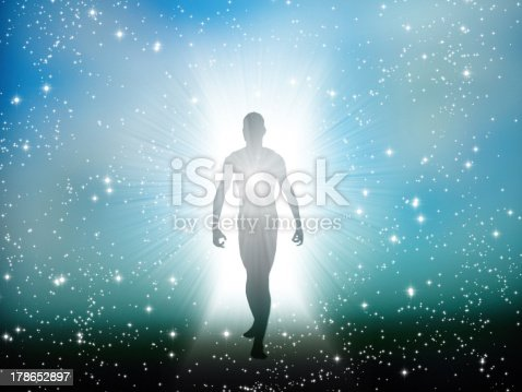 istock Figure emerges from the comos 178652897