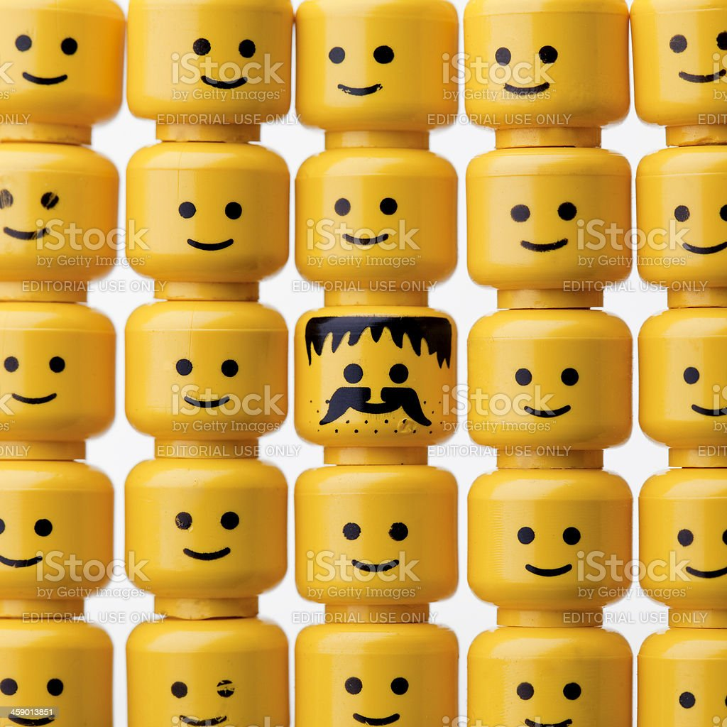 LEGO figure heads stock photo