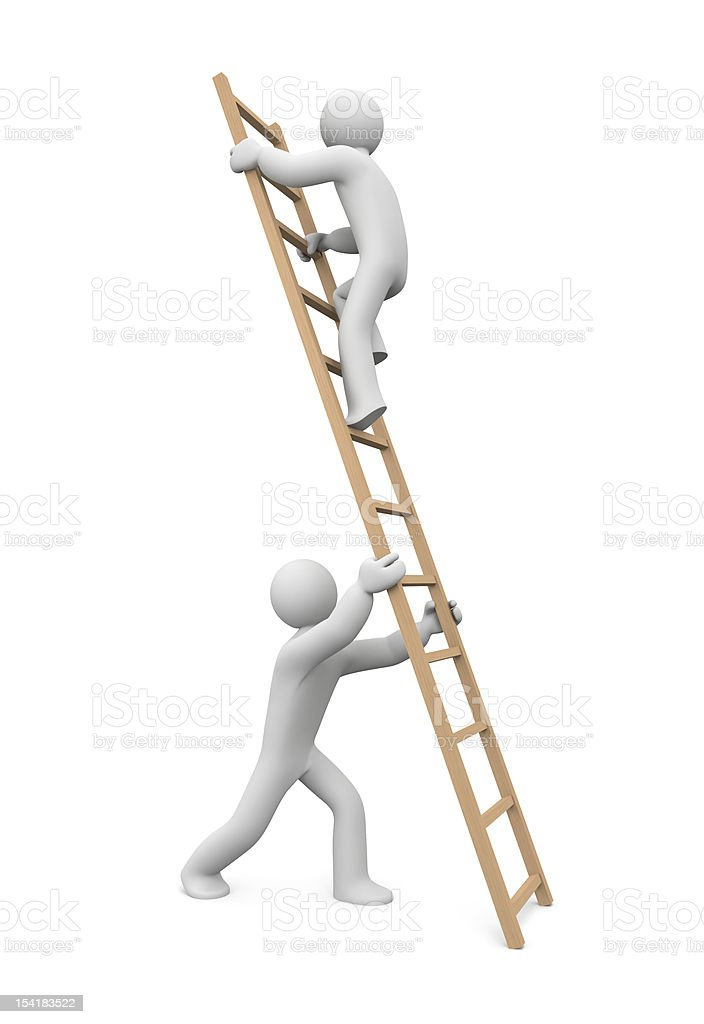 A 3D figure holding a ladder for another to climb royalty-free stock photo