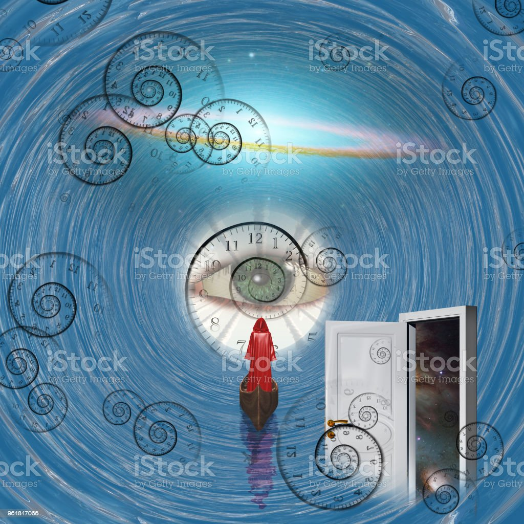 Figure in red robe on boat in time tunnel with open door royalty-free stock photo