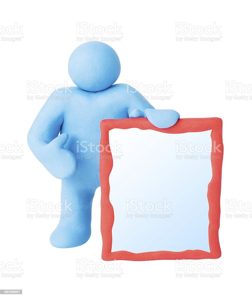 Figure man with blank copy space board. Isolated. Clipping paths royalty-free stock photo