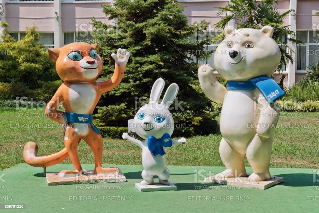 Figure mascots of the 2014 Olympics, a Cheetah, rabbit and polar bear are in the city Park stock photo