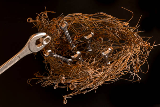 Figure of a birds nest made with steel wires and wrenches.  The largest of them simulates being the mother feeding a nut to the others. Concept - Illustration stock photo