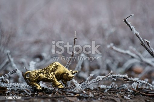 Figure of a metal bull on a background of frost.