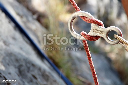 Figure of eight. Rock climbing at the Gorges de Gardon near Collias, Département du Gard, France