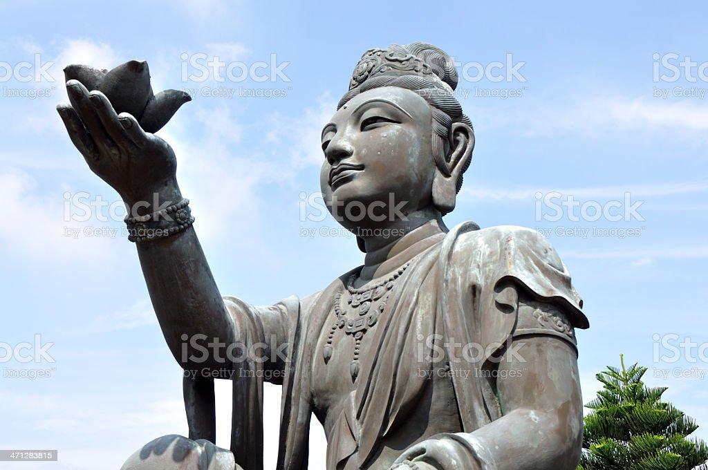 Figure of God Worship Buddha at Hong Kong Temple stock photo