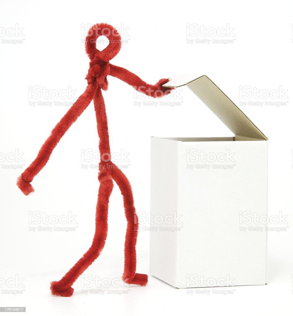 Figure opening blank white box royalty-free stock photo