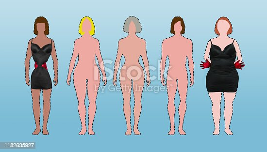Photo's Stock photo ID:187785108  ID:180810712 and drawing by contributor shapewear and body type series