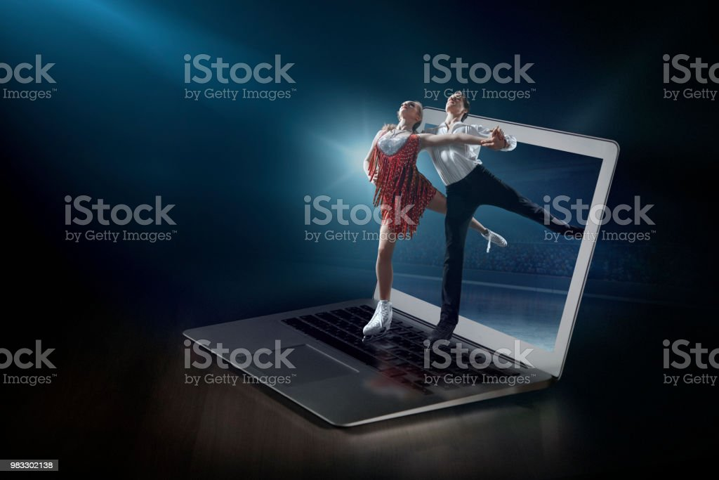 Figure skating on laptop. Live broadcast stock photo