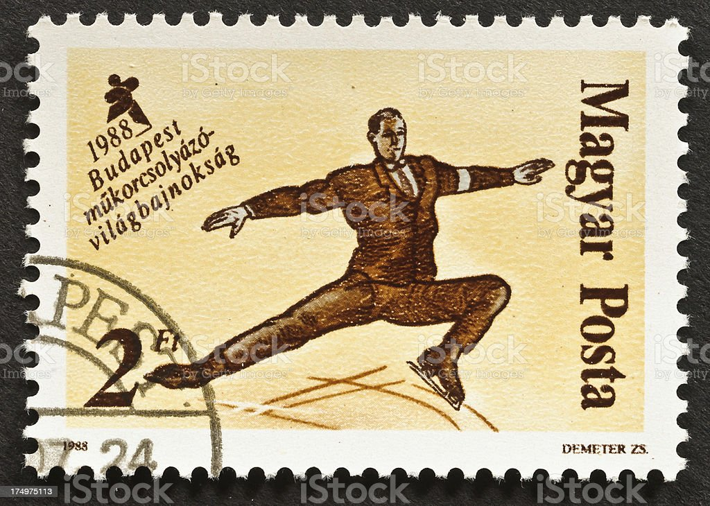 Figure Skating Stamp royalty-free stock photo