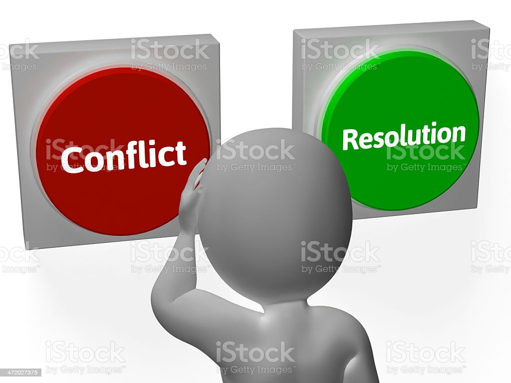 Figure stands at Conflict and Resolution buttons stock photo